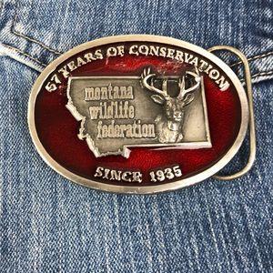 Montana Wildlife Federation belt buckle red